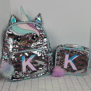 Justice Girls backpack lunchbox set Intial K new